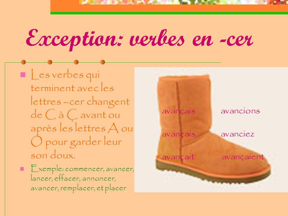Exception: verbes en -ger Les verbes qui terminent avec les lettres –ger ajoutent un E muet entre G et A pour garder le son doux de G Exemple: manger,