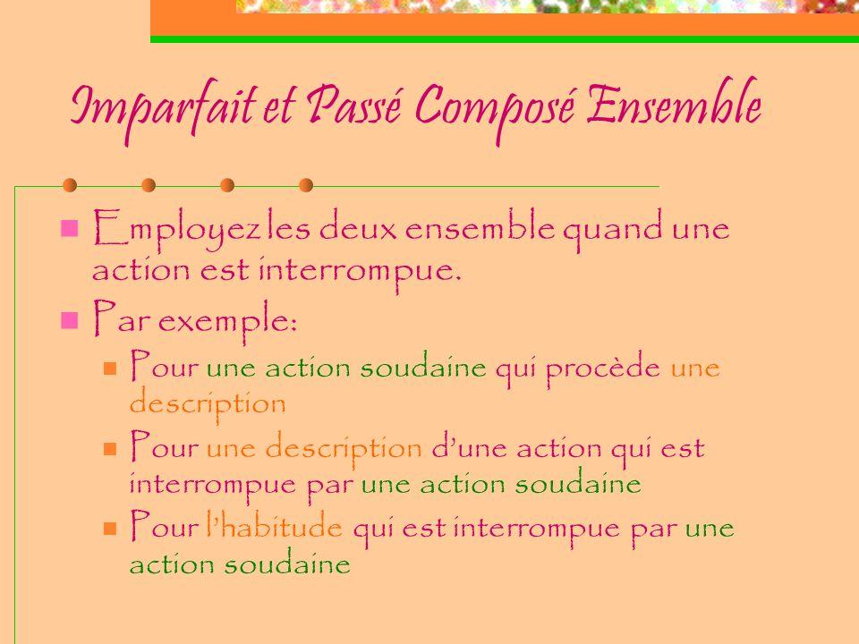 Imparfait v. Passé composé Actions habituelles Actions progressives Description Habitude Action point Plusieurs actions- points Durée limitée Répétiti