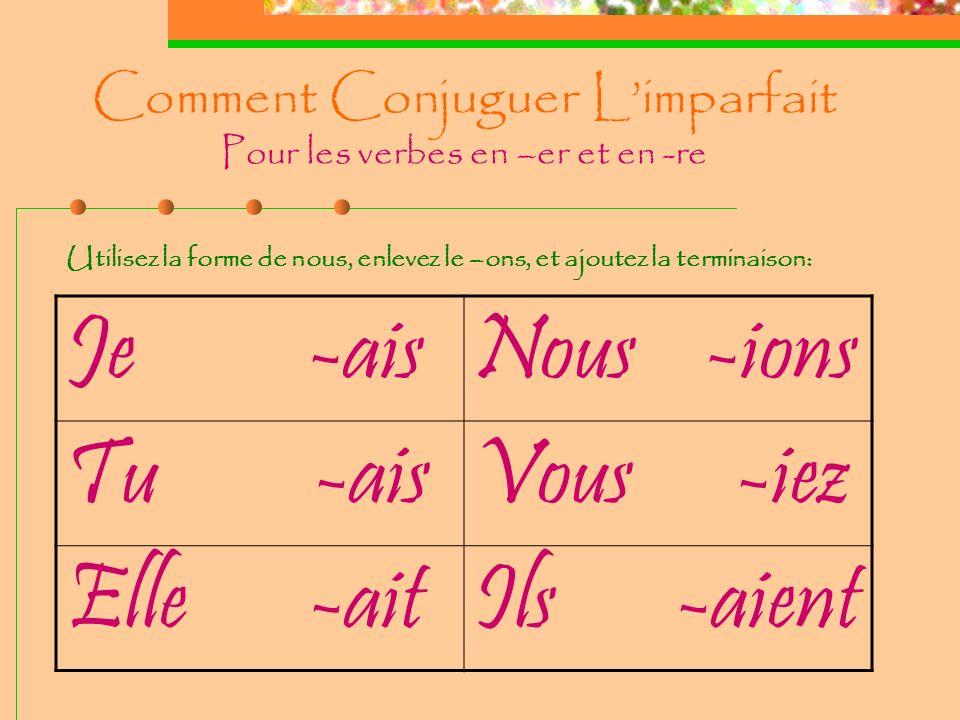 Comment Conjuguer Limparfait Pour les verbes en –er et en -re Je -aisNous -ions Tu -aisVous -iez Elle -aitIls -aient Utilisez la forme de nous, enlevez le –ons, et ajoutez la terminaison: