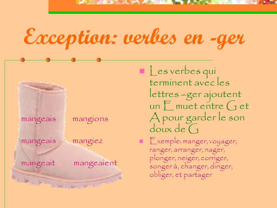 Exception: verbes en -ger Les verbes qui terminent avec les lettres –ger ajoutent un E muet entre G et A pour garder le son doux de G Exemple: manger, voyager, ranger, arranger, nager, plonger, neiger, corriger, songer à, changer, diriger, obliger, et partager mangeais mangions mangeais mangiez mangeait mangeaient