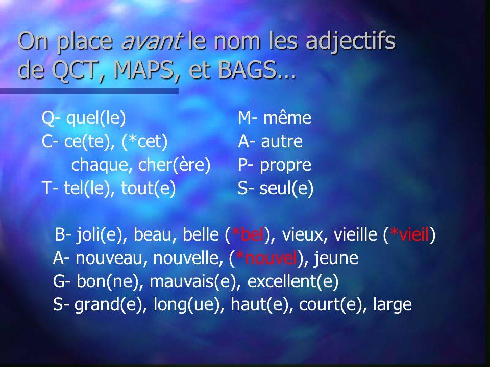 Les Adjectifs se placent généralement après le nom… Par Exemple… le professeur extraordinaire une ordonnance simple