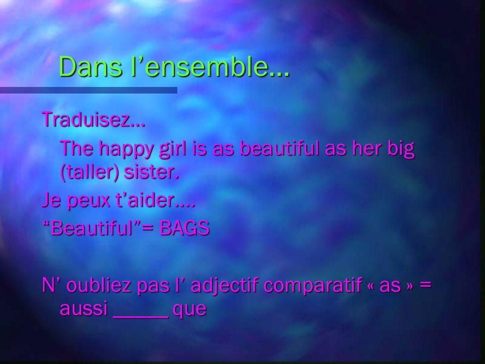 Les Adjectifs Superlatifs Des exemples: Elle est la fille la plus intelligente de la classe. Il court le moins vite de léquipe.