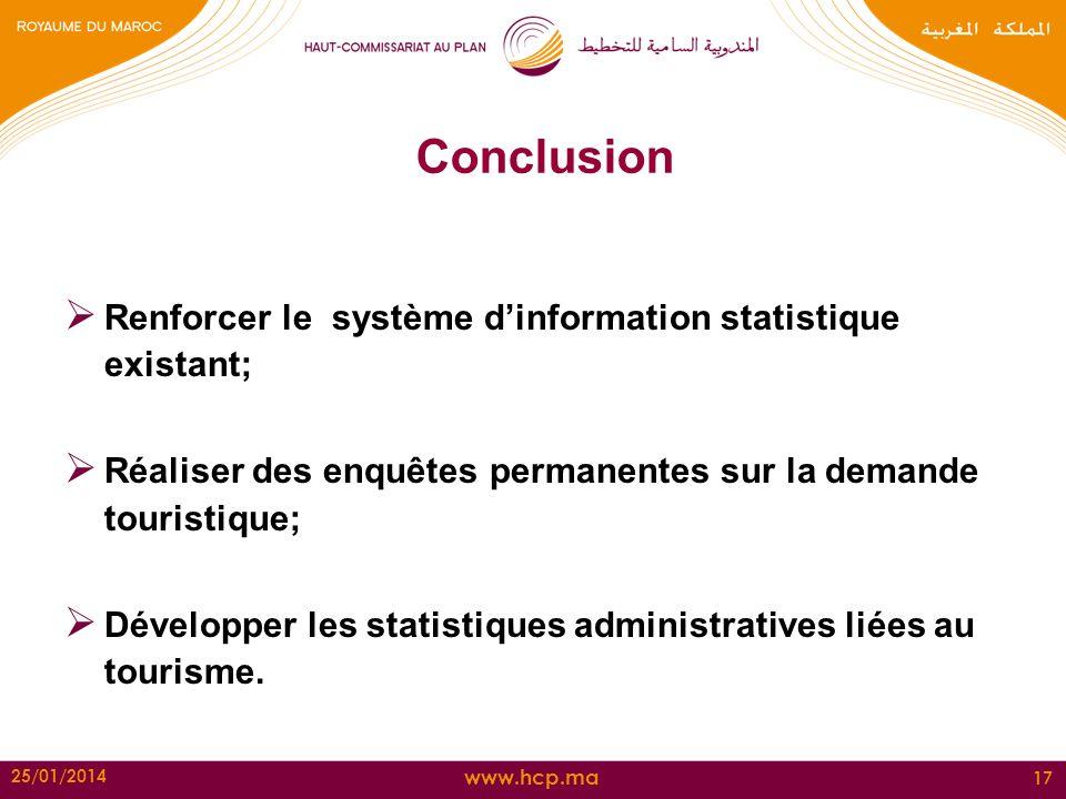 www.hcp.ma 25/01/2014 17 Conclusion Renforcer le système dinformation statistique existant; Réaliser des enquêtes permanentes sur la demande touristiq
