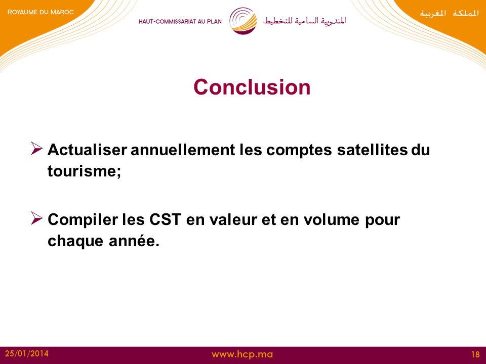 www.hcp.ma 25/01/2014 18 Conclusion Actualiser annuellement les comptes satellites du tourisme; Compiler les CST en valeur et en volume pour chaque an
