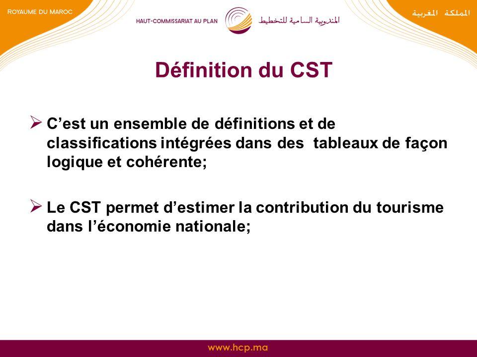 www.hcp.ma Définition du CST Cest un ensemble de définitions et de classifications intégrées dans des tableaux de façon logique et cohérente; Le CST p