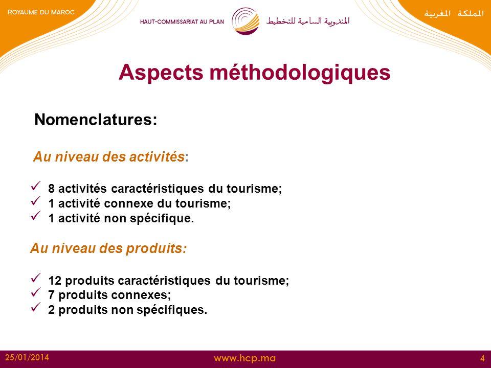 www.hcp.ma 25/01/2014 4 Aspects méthodologiques Nomenclatures: Au niveau des activités: 8 activités caractéristiques du tourisme; 1 activité connexe d