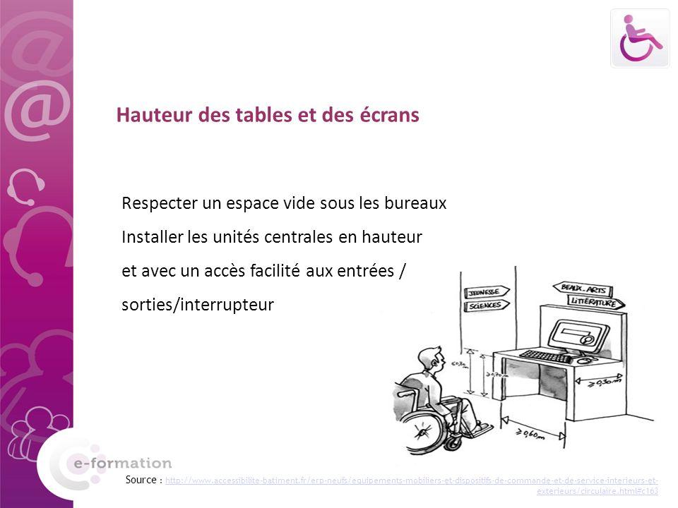 Hauteur des tables et des écrans Respecter un espace vide sous les bureaux Installer les unités centrales en hauteur et avec un accès facilité aux ent