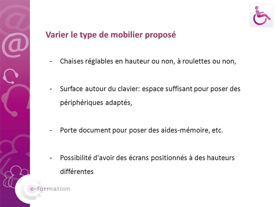 Varier le type de mobilier proposé -Chaises réglables en hauteur ou non, à roulettes ou non, -Surface autour du clavier: espace suffisant pour poser d