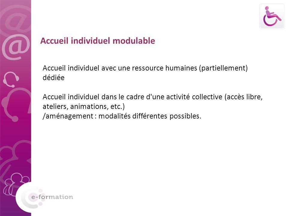Accueil individuel modulable Accueil individuel avec une ressource humaines (partiellement) dédiée Accueil individuel dans le cadre d une activité collective (accès libre, ateliers, animations, etc.) /aménagement : modalités différentes possibles.