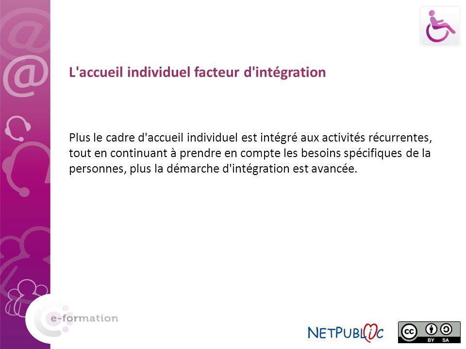 L accueil individuel facteur d intégration Plus le cadre d accueil individuel est intégré aux activités récurrentes, tout en continuant à prendre en compte les besoins spécifiques de la personnes, plus la démarche d intégration est avancée.