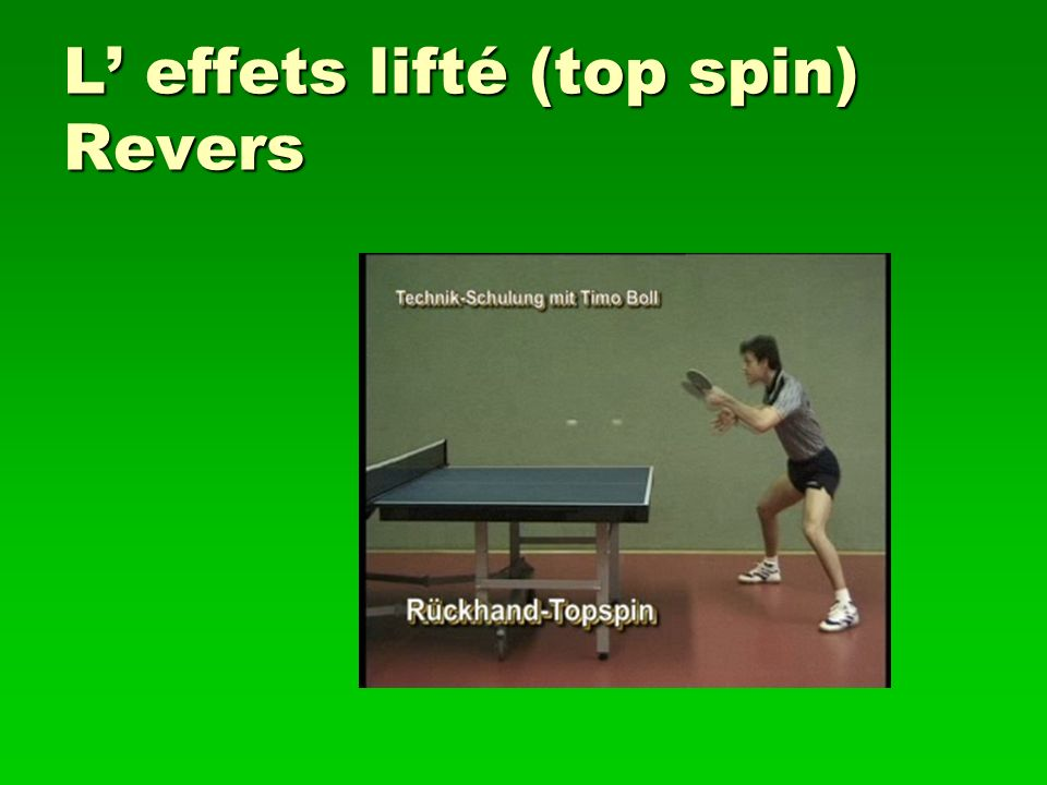 L effets lifté (top spin) Revers