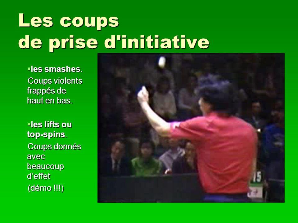 Les coups de prise d'initiative les smashes. les smashes. Coups violents frappés de haut en bas. les lifts ou top-spins. les lifts ou top-spins. Coups