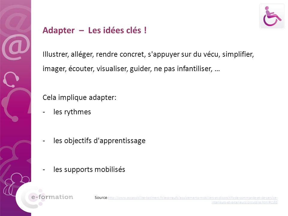 Adapter – Les idées clés ! Illustrer, alléger, rendre concret, s'appuyer sur du vécu, simplifier, imager, écouter, visualiser, guider, ne pas infantil