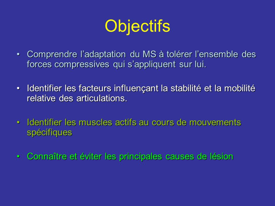 Objectifs Comprendre ladaptation du MS à tolérer lensemble des forces compressives qui sappliquent sur lui.Comprendre ladaptation du MS à tolérer lens