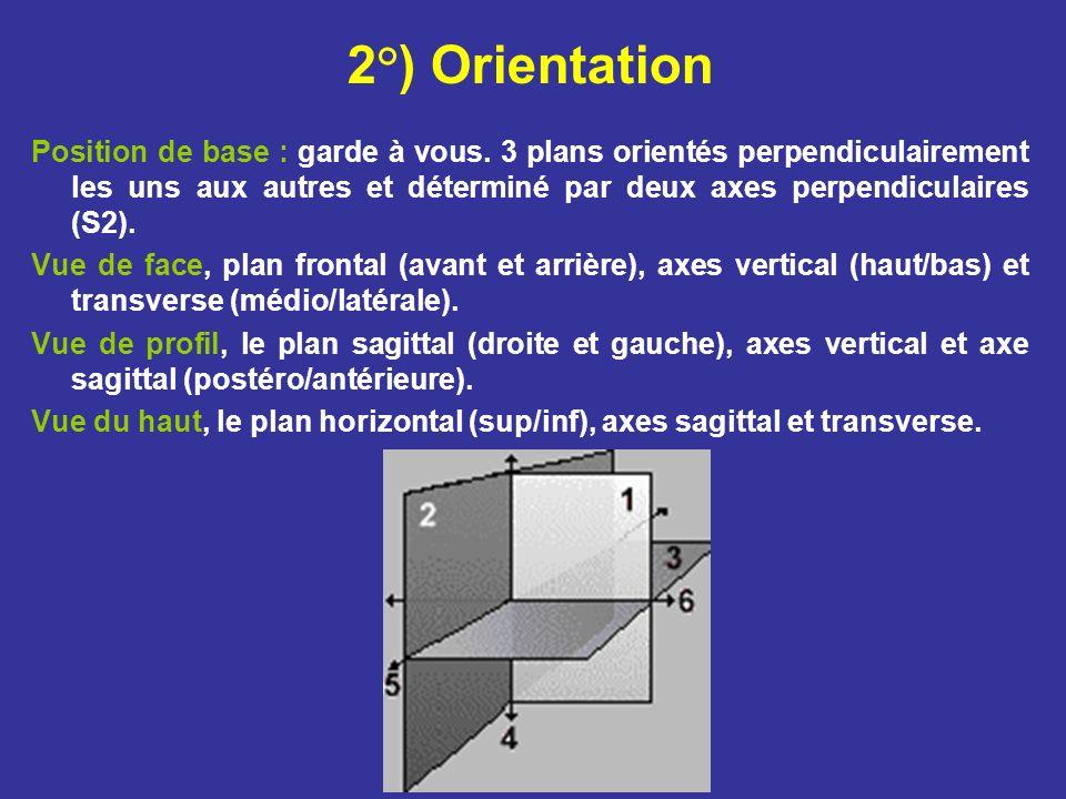 2°) Orientation Position de base : garde à vous. 3 plans orientés perpendiculairement les uns aux autres et déterminé par deux axes perpendiculaires (