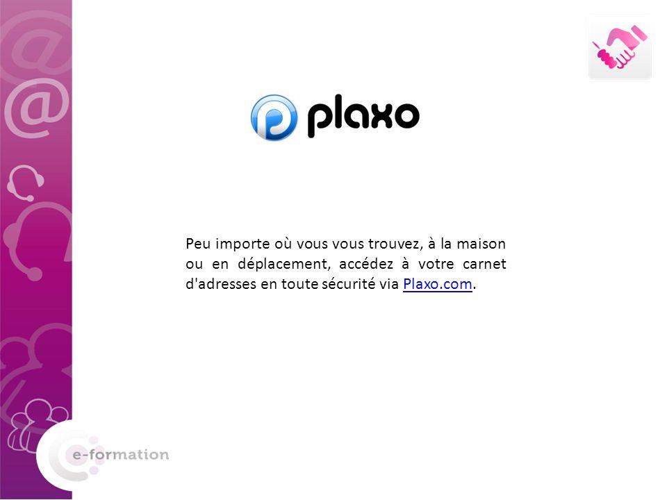 Peu importe où vous vous trouvez, à la maison ou en déplacement, accédez à votre carnet d'adresses en toute sécurité via Plaxo.com.Plaxo.com