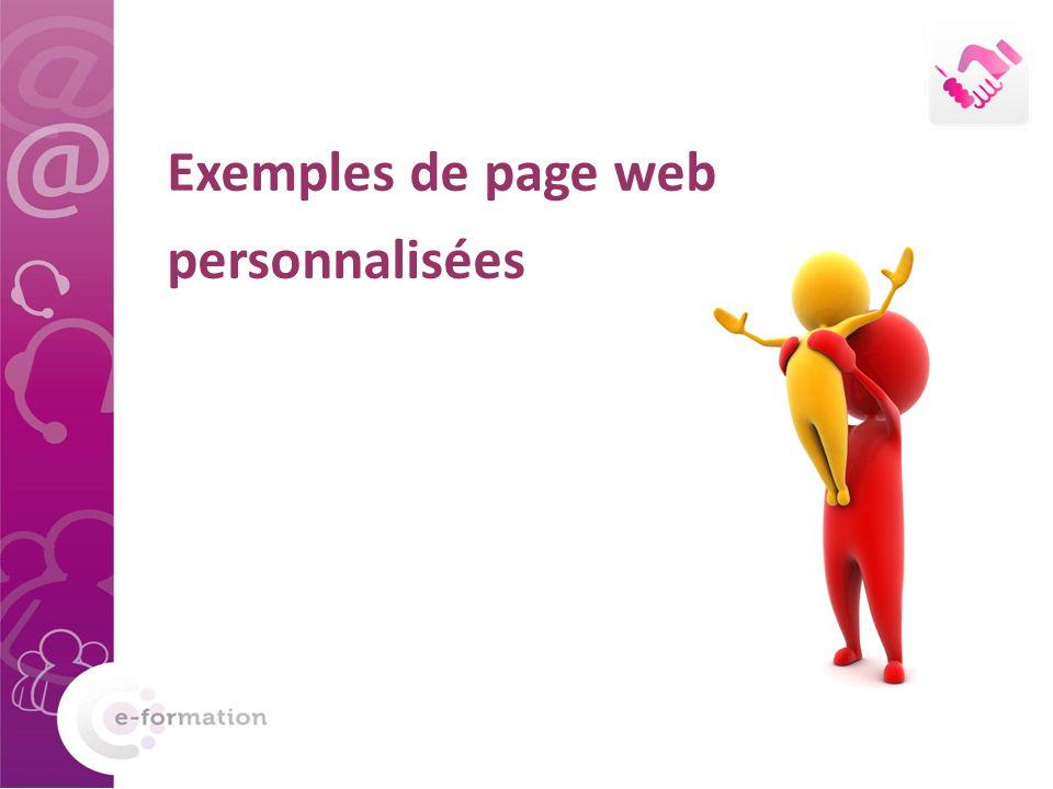Exemples de page web personnalisées
