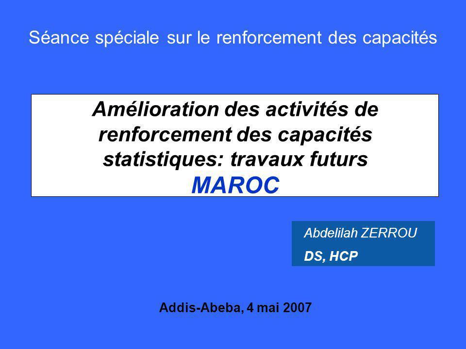 2 Mai 2007 Plan de lexposé 1.Capacité statistique du Maroc 2.Organisation 3.Réalisations 4.Perspectives 5.Coopération statistique 6.Limites du système