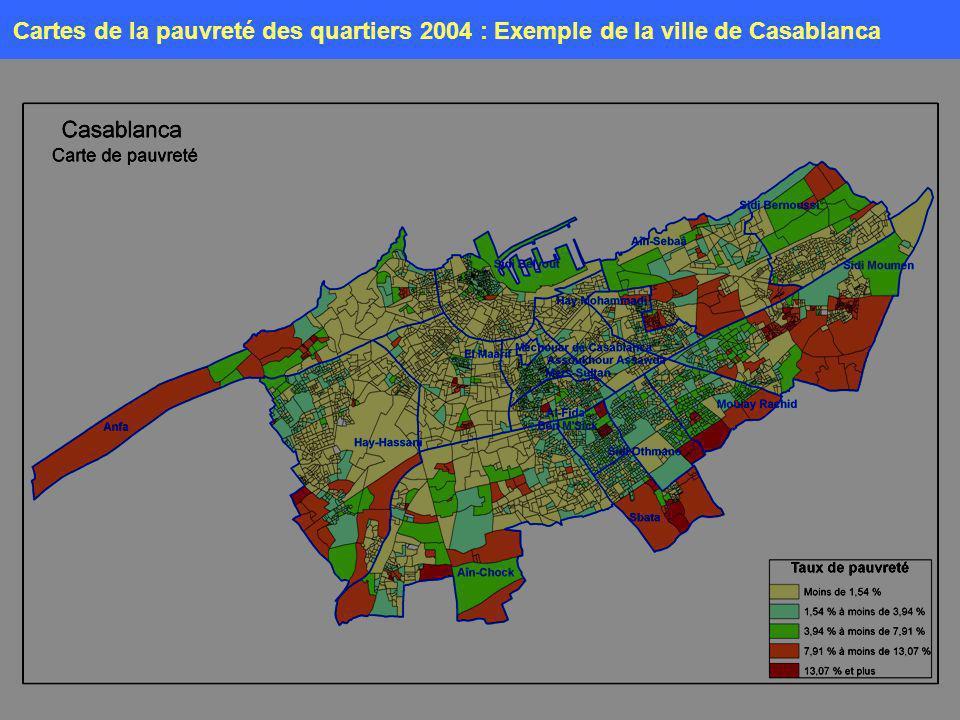 12 Mai 2007 Cartes de la pauvreté des quartiers 2004 : Exemple de la ville de Casablanca