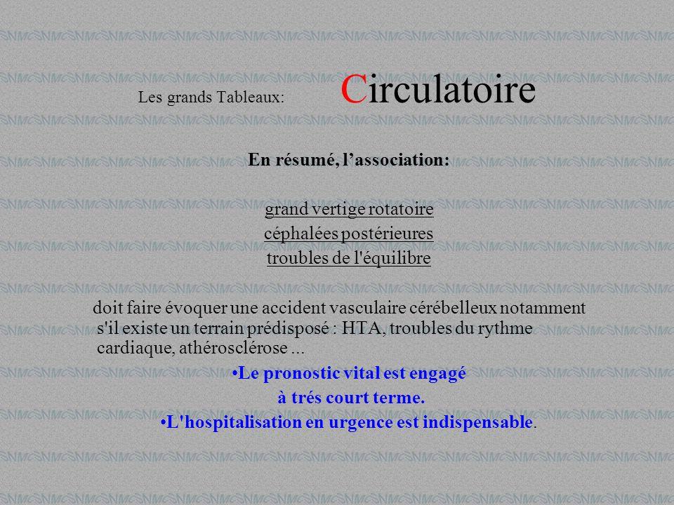 En résumé, lassociation: grand vertige rotatoire céphalées postérieures troubles de l'équilibre doit faire évoquer une accident vasculaire cérébelleux