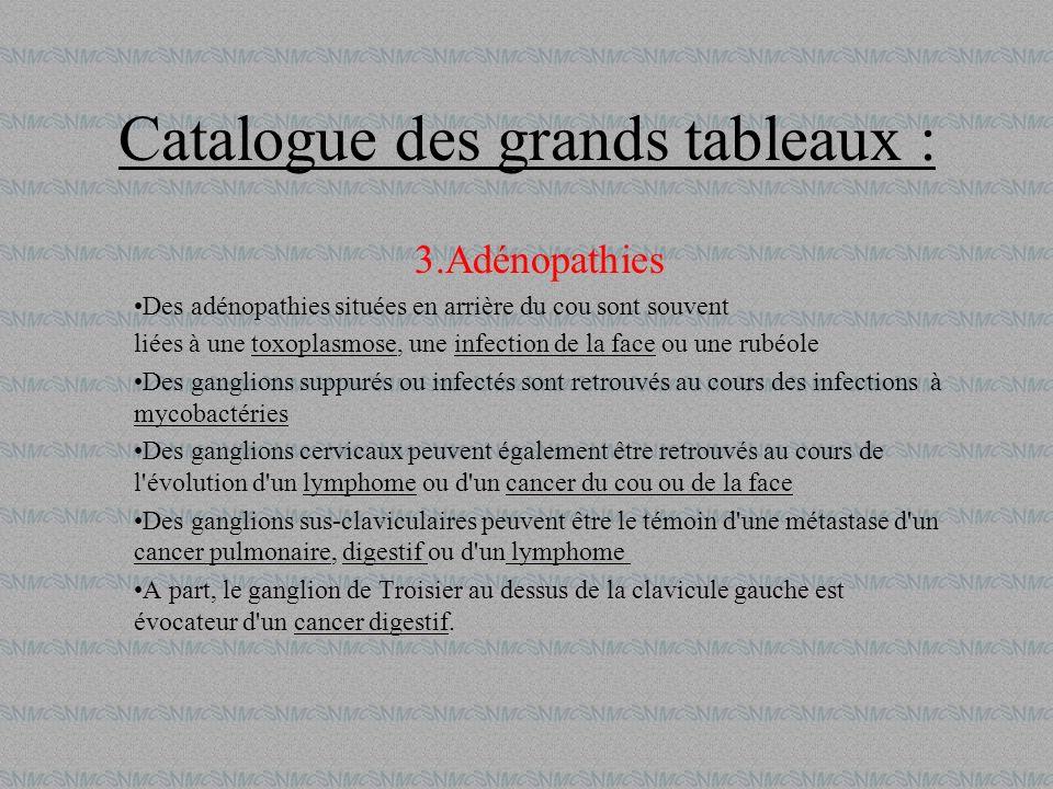 Catalogue des grands tableaux : 3.Adénopathies Des adénopathies situées en arrière du cou sont souvent liées à une toxoplasmose, une infection de la f