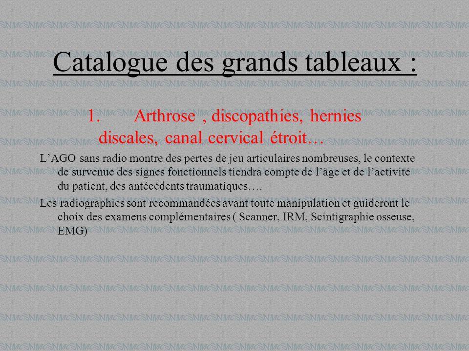 Catalogue des grands tableaux : 1.Arthrose, discopathies, hernies discales, canal cervical étroit… LAGO sans radio montre des pertes de jeu articulair