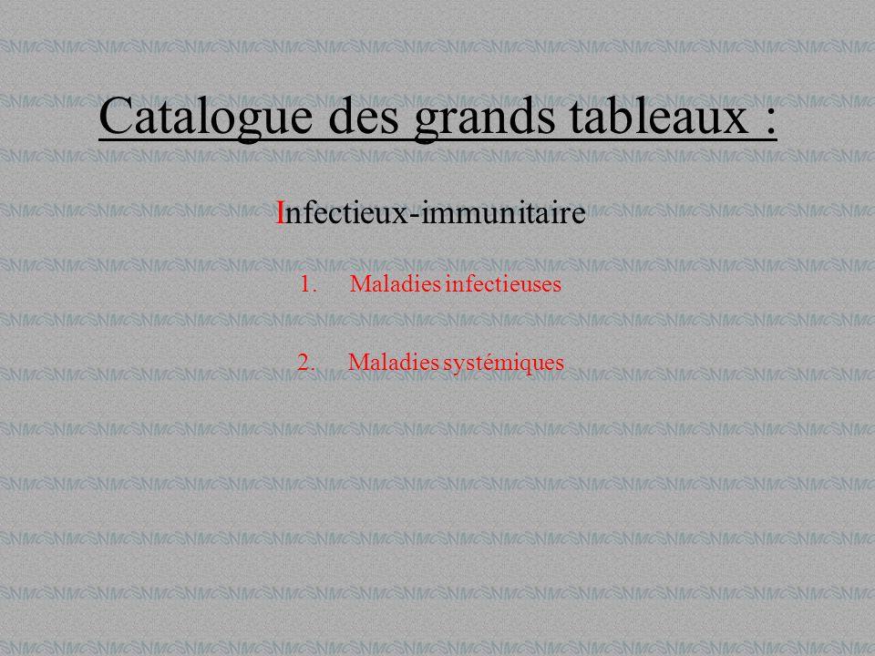 Catalogue des grands tableaux : Infectieux-immunitaire 1.Maladies infectieuses 2.Maladies systémiques