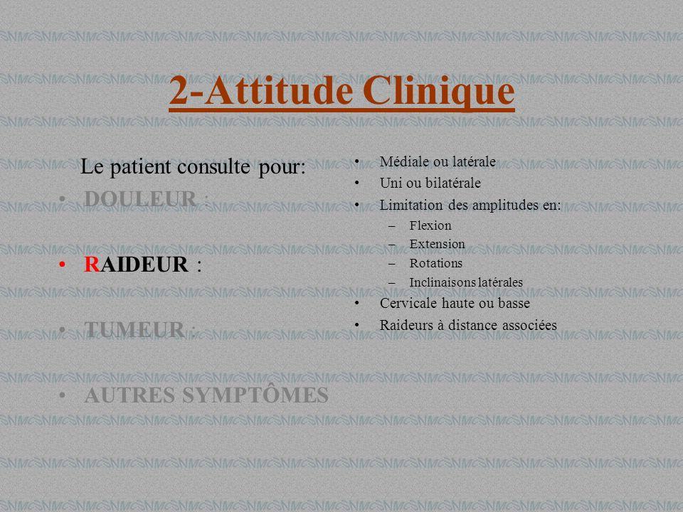 2-Attitude Clinique Le patient consulte pour: DOULEUR : RAIDEUR : TUMEUR : AUTRES SYMPTÔMES Médiale ou latérale Uni ou bilatérale Limitation des ampli