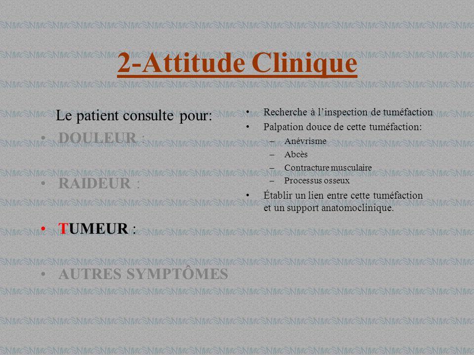 2-Attitude Clinique Le patient consulte pour: DOULEUR : RAIDEUR : TUMEUR : AUTRES SYMPTÔMES Recherche à linspection de tuméfaction Palpation douce de