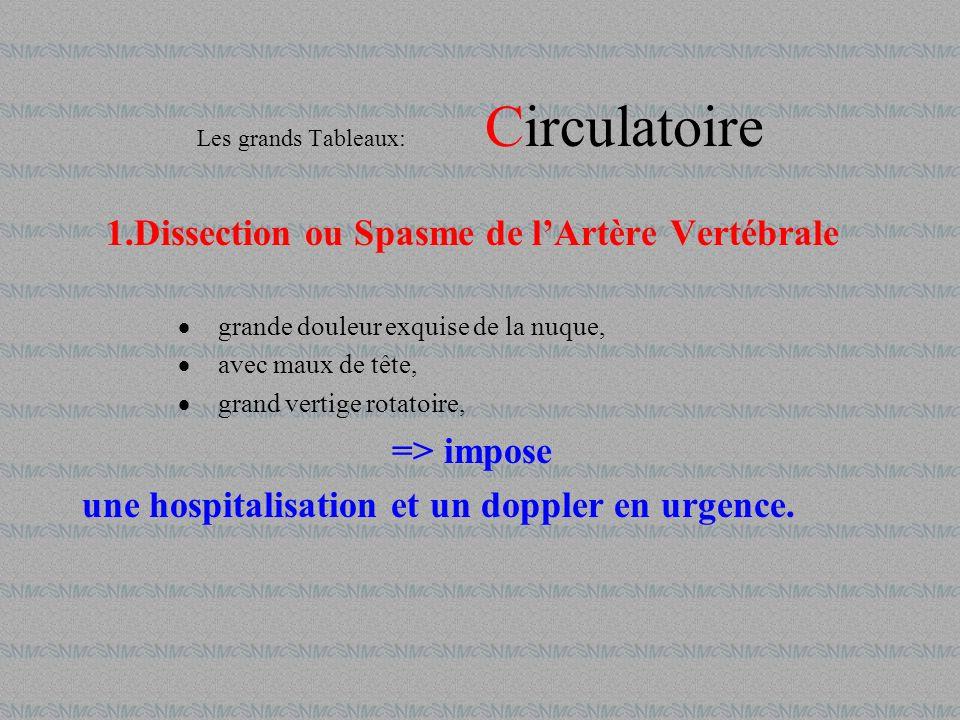 Les grands Tableaux: Circulatoire 1.Dissection ou Spasme de lArtère Vertébrale grande douleur exquise de la nuque, avec maux de tête, grand vertige ro