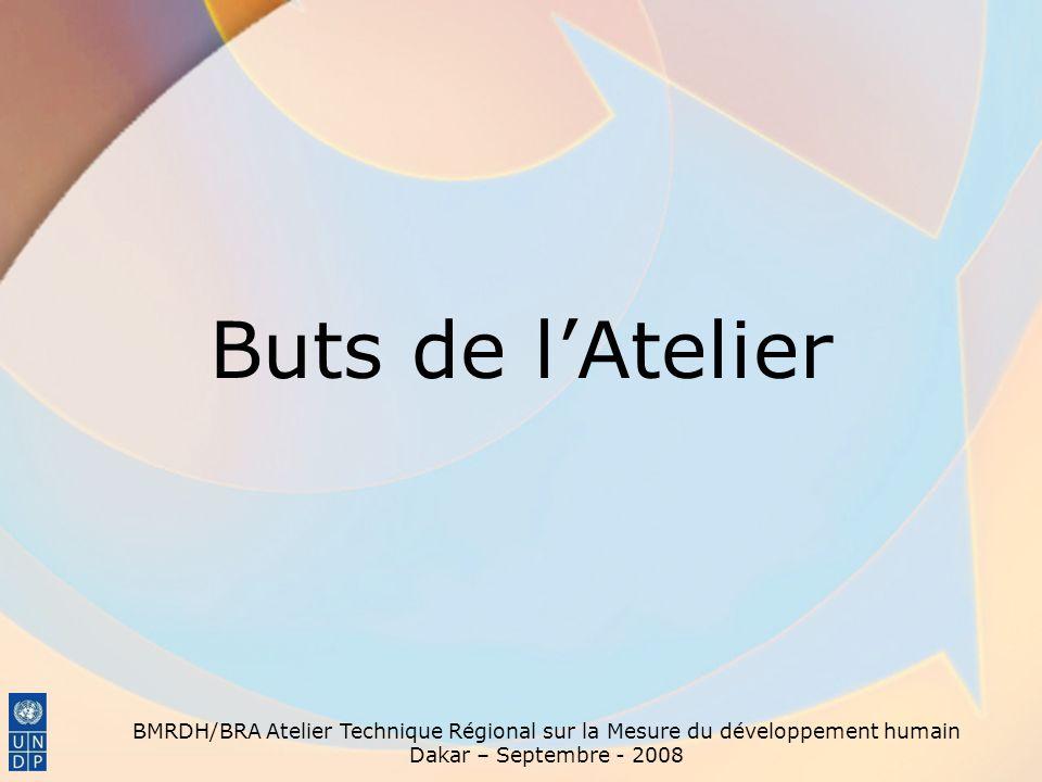 Buts de lAtelier BMRDH/BRA Atelier Technique Régional sur la Mesure du développement humain Dakar – Septembre - 2008