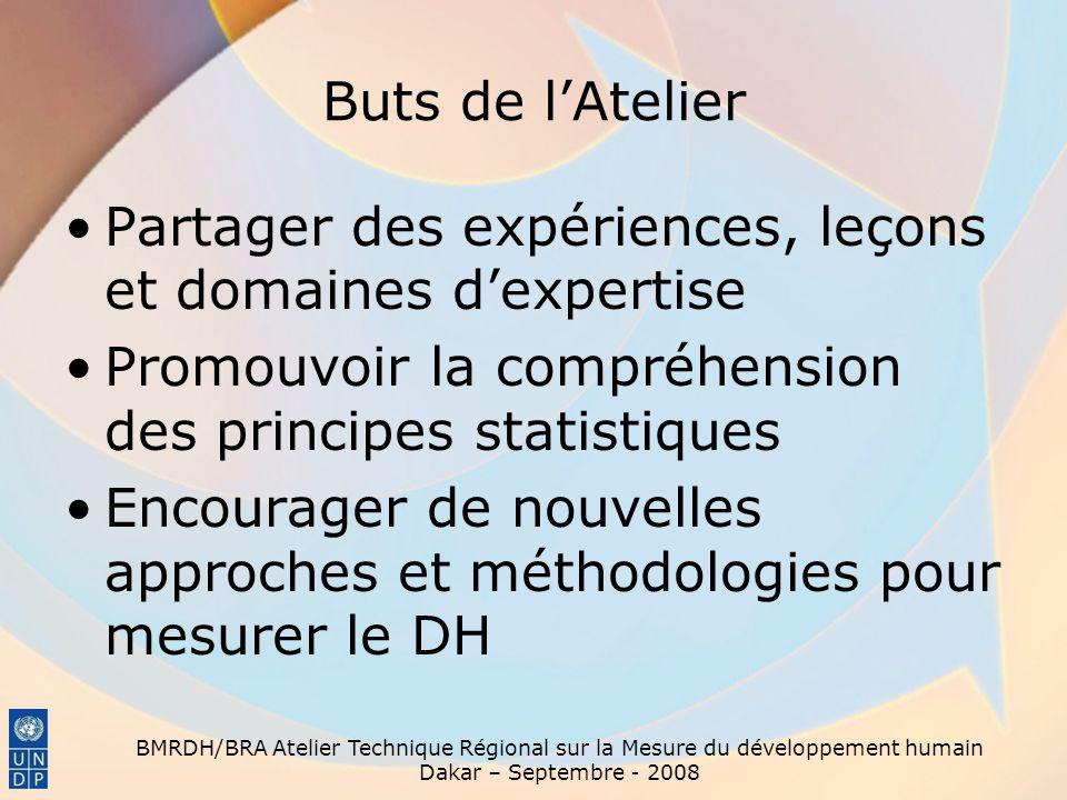 Buts de lAtelier Partager des expériences, leçons et domaines dexpertise Promouvoir la compréhension des principes statistiques Encourager de nouvelle