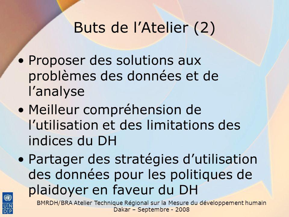 Buts de lAtelier (2) Proposer des solutions aux problèmes des données et de lanalyse Meilleur compréhension de lutilisation et des limitations des ind