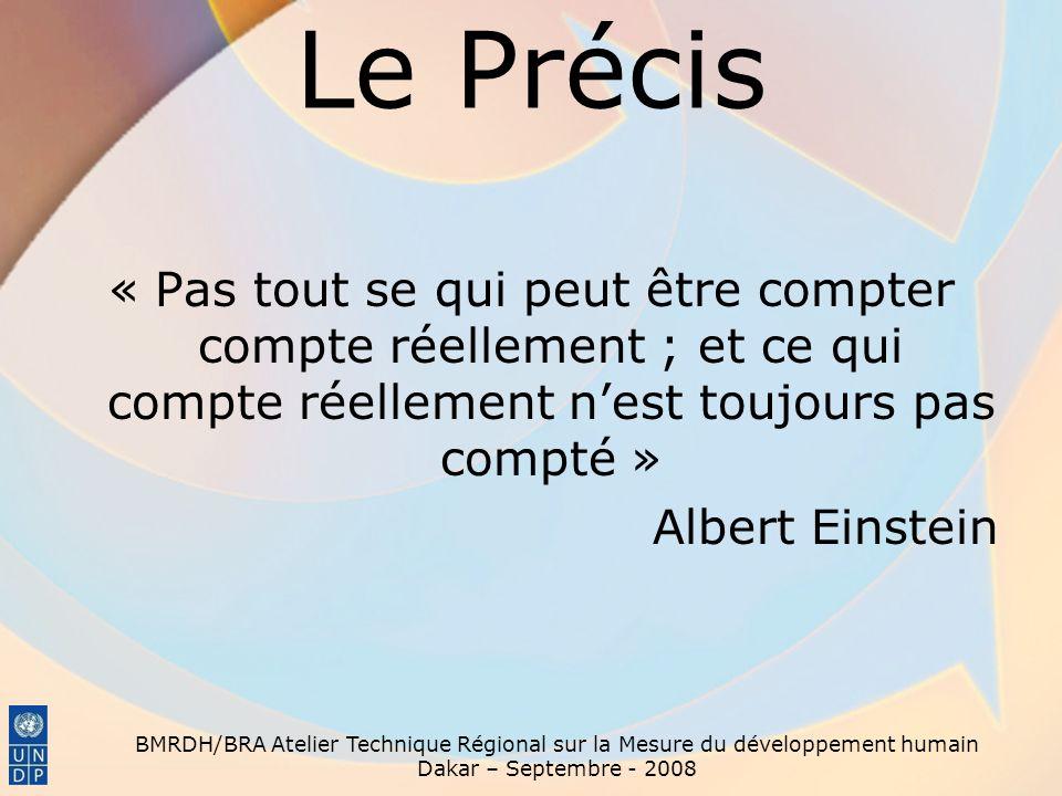 Le Précis « Pas tout se qui peut être compter compte réellement ; et ce qui compte réellement nest toujours pas compté » Albert Einstein BMRDH/BRA Ate