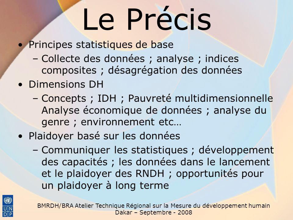 Le Précis Principes statistiques de base –Collecte des données ; analyse ; indices composites ; désagrégation des données Dimensions DH –Concepts ; ID