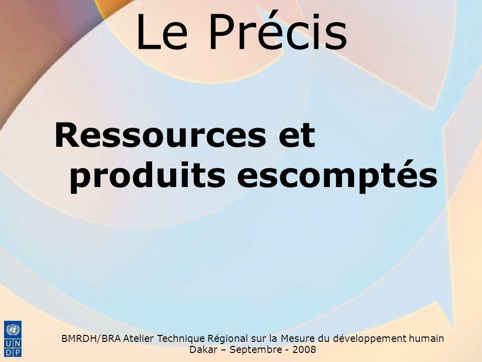 Le Précis Ressources et produits escomptés BMRDH/BRA Atelier Technique Régional sur la Mesure du développement humain Dakar – Septembre - 2008