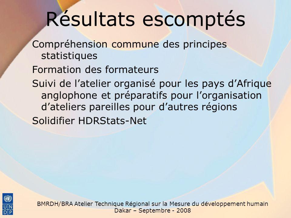 Résultats escomptés Compréhension commune des principes statistiques Formation des formateurs Suivi de latelier organisé pour les pays dAfrique anglop