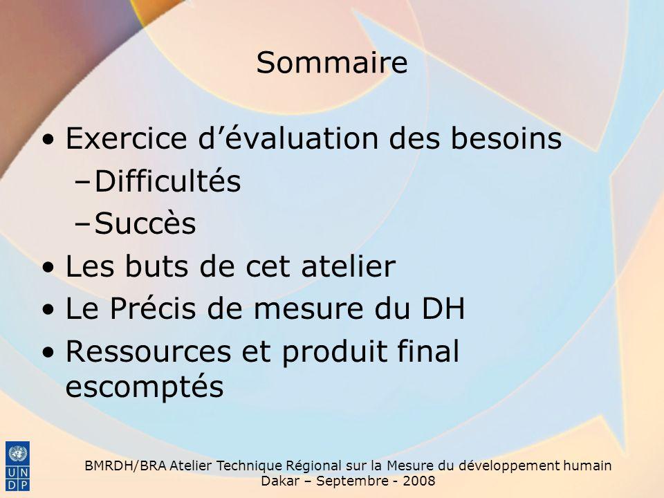 BMRDH/BRA Atelier Technique Régional sur la Mesure du développement humain Dakar – Septembre - 2008 Sommaire Exercice dévaluation des besoins –Difficu