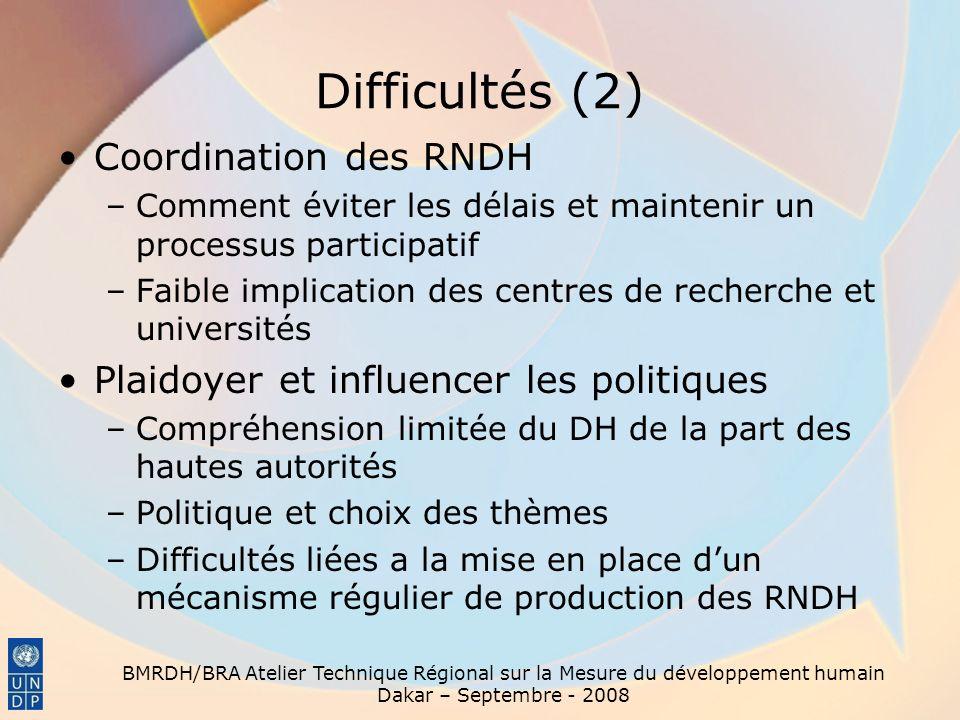 Difficultés (2) Coordination des RNDH –Comment éviter les délais et maintenir un processus participatif –Faible implication des centres de recherche e