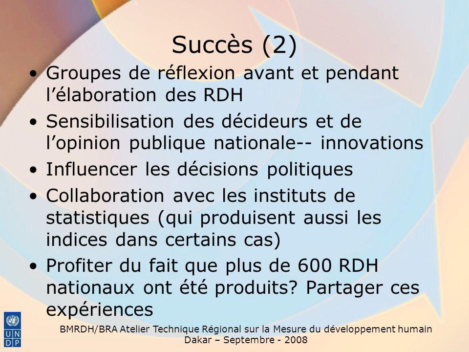Succès (2) Groupes de réflexion avant et pendant lélaboration des RDH Sensibilisation des décideurs et de lopinion publique nationale-- innovations In