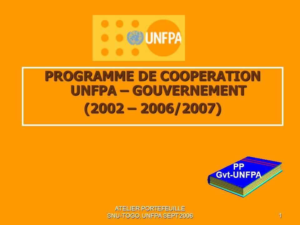 ATELIER PORTEFEUILLE SNU-TOGO, UNFPA SEPT 20061 PROGRAMME DE COOPERATION UNFPA – GOUVERNEMENT (2002 – 2006/2007) PP Gvt-UNFPA