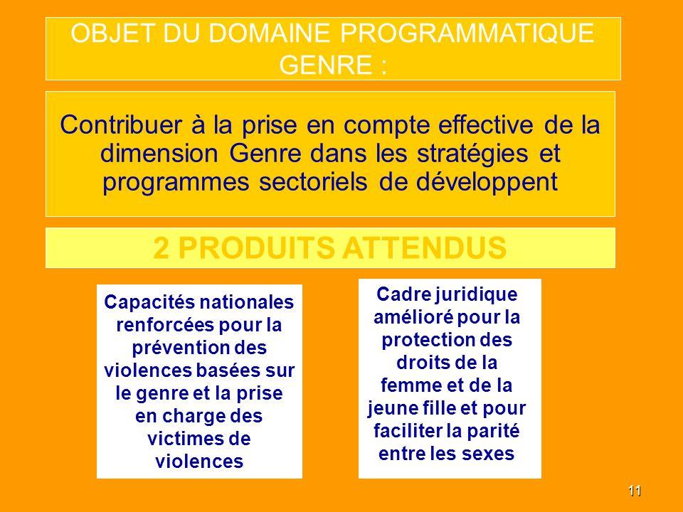 11 OBJET DU DOMAINE PROGRAMMATIQUE GENRE : Contribuer à la prise en compte effective de la dimension Genre dans les stratégies et programmes sectoriel