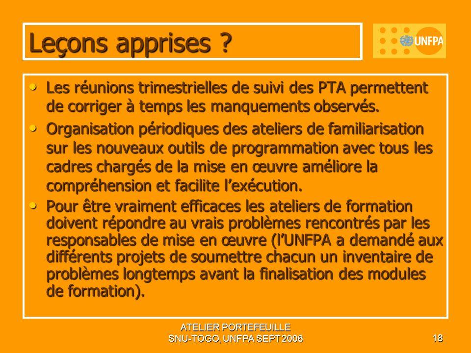 ATELIER PORTEFEUILLE SNU-TOGO, UNFPA SEPT 200618 Leçons apprises .