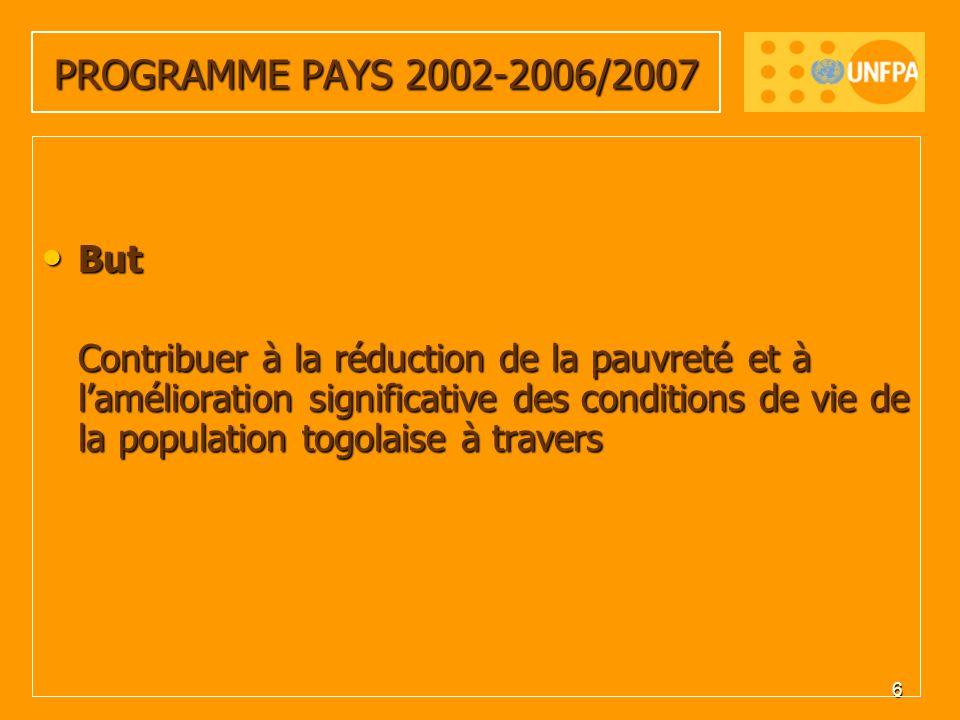 6 PROGRAMME PAYS 2002-2006/2007 But But Contribuer à la réduction de la pauvreté et à lamélioration significative des conditions de vie de la population togolaise à travers Contribuer à la réduction de la pauvreté et à lamélioration significative des conditions de vie de la population togolaise à travers