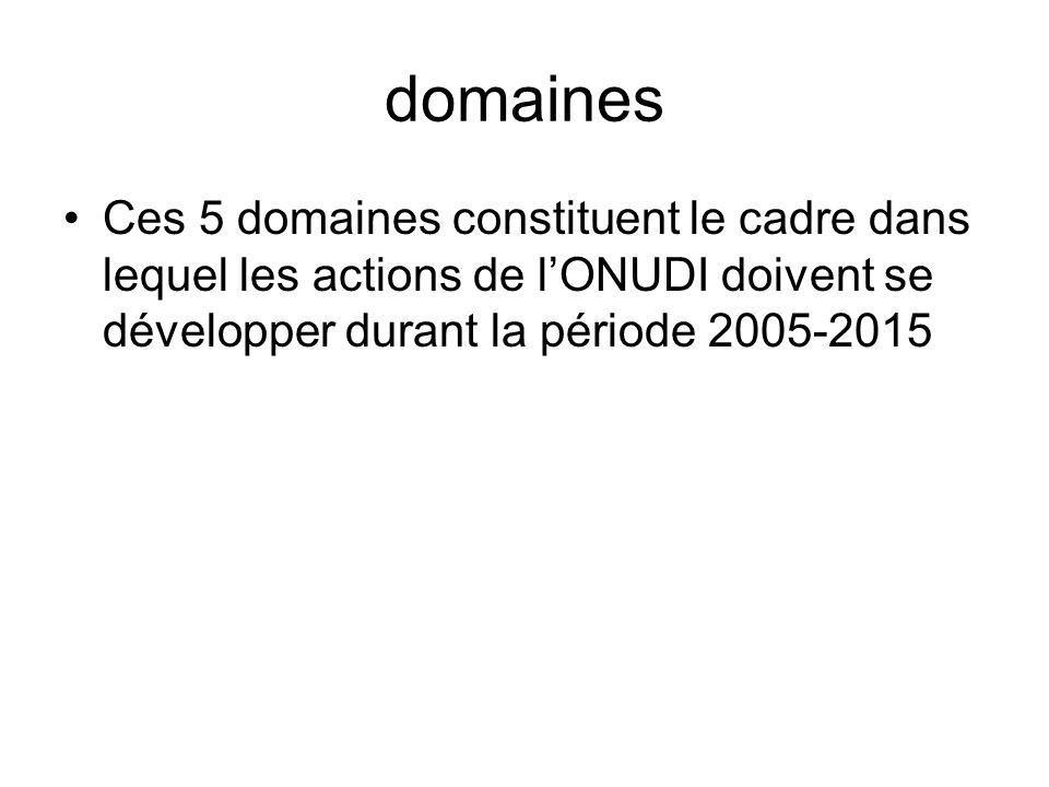 domaines Ces 5 domaines constituent le cadre dans lequel les actions de lONUDI doivent se développer durant la période 2005-2015