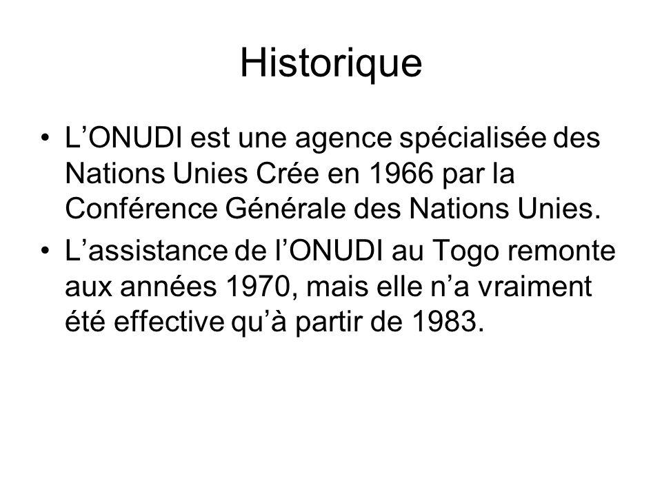 Historique LONUDI est une agence spécialisée des Nations Unies Crée en 1966 par la Conférence Générale des Nations Unies.