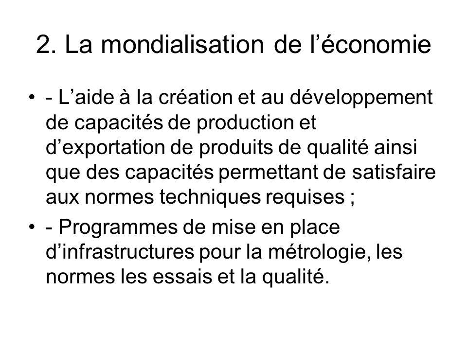 2. La mondialisation de léconomie - Laide à la création et au développement de capacités de production et dexportation de produits de qualité ainsi qu