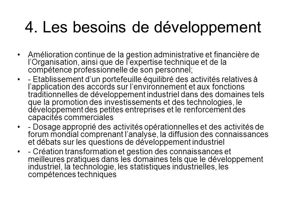 4. Les besoins de développement Amélioration continue de la gestion administrative et financière de lOrganisation, ainsi que de lexpertise technique e