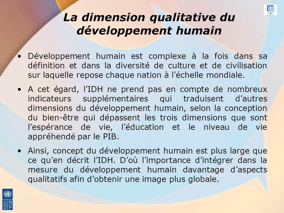 La dimension qualitative du développement humain Développement humain est complexe à la fois dans sa définition et dans la diversité de culture et de civilisation sur laquelle repose chaque nation à léchelle mondiale.