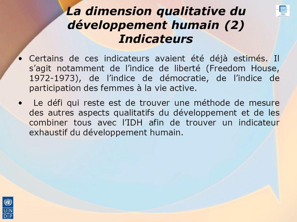 La dimension qualitative du développement humain (2) Indicateurs Certains de ces indicateurs avaient été déjà estimés.